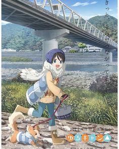 Source material: Yuru Camp      #anime #art #japan #otaku #yurucamp #dog #doggo #winter #cold #bridge #river
