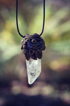 Quartz Crystal Point  Necklace . OOAK . Handcrafted . by TRaewyn, $120.00