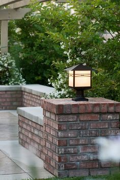 Taliesin is a transitional style collection from Maxim Lighting International in three finishes, Burnished, Country Stone or Pewter with Iridescent glass. Outdoor Post Lights, Outdoor Lighting, Indoor Outdoor, Outdoor Decor, Lighting Ideas, Driveway Entrance, Brick Columns Driveway, Brick Fence, Pergola