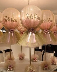 Glitter Balloons Balloons covered in Glitter tulle for any celebration Deco Baby Shower, Baby Girl Shower Themes, Girl Baby Shower Decorations, Baby Shower Princess, Baby Shower Pink, Ballerina Baby Showers, Balloon Centerpieces, Balloon Decorations Party, Birthday Party Decorations