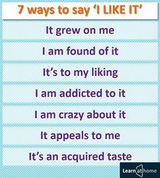 """7 способов сказать """"Мне это нравится"""" #english #vocabulary"""