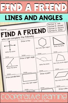 Lines and angles cooperative learning practice using Find a Friend Math Resources, Math Activities, Geometry Activities, Leadership Activities, Fun Math, Teaching Math, Teaching Ideas, Teaching Tools, Math Vocabulary