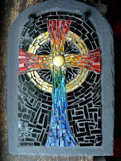 Rainbow Mosaic Celtic Cross by Margaret Almon