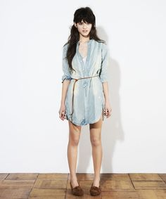 Looks like you just need an oversized denim shirt and a belt!