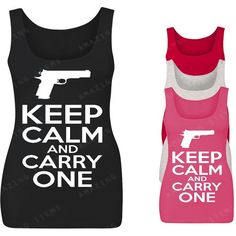 Keep Calm and Carry One Women's Tank Top Funny Tank Tops ($7.59) ❤ liked on Polyvore featuring tops, black, tanks, women's clothing, cotton tank, print top, print tank top, print tank and patterned tops