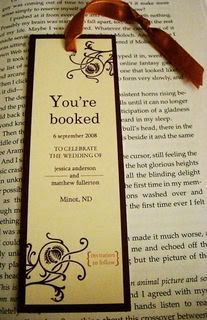 "bookmark save the dates library book lover wedding literary themed Maybe combine this with ""she won't discover that it's him til chapter three"""