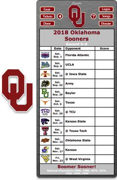 Get your 2018 Oklahoma Sooners Football Schedule Dashboard Widget - Sooner Boomer! - National Champions 2000, 1985, 1975, 1974, 1956, 1955, 1950  Download your FREE DEMO at: http://2thumbzmac.com/teamPagesWidgets/Oklahoma_Sooners.htm