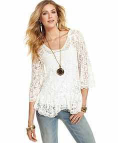 Free People Top, Three-Quarter Scoop-Neck Lace