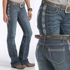Diamond-patterned embroidery in white, cement and cloud run down the side-seam piecing, drawing the eye to every curve. This jean is finished with a clean, medium stonewash denim. CB44754071 ~ Shop CRUEL Denim online today!~