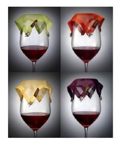Wine Veil - The Ultimate Wine Accessory. It eliminates the unpleasant experience of bugs and other matter floating and flocking in your wine glass. A charming way to tell your glasses apart. Set of 4 different colors for your guests to choose from. Wine glass markers aren't just for wine glasses, try them on margarita glasses, beer mug and coffee cups. Perfect for weddings, parties and other outdoor events. Impress your guests and never worry about getting bugs in your wine again!