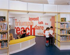 Library Design | Children's Library | Love the wall graphics and walk through shelving.