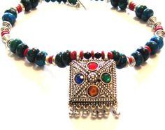 Kuchi Pendant Necklace, Tribal Necklace, Afghan Tribal Necklace, Blue Necklace, Silver Pendant Necklace, Tribal Pendant, Tribal Jewelry