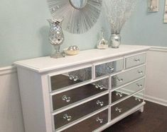 Mirrored Dresser Pure White with mirrored drawer fronts and painted tops and sides, Shabby Chic mirror dresser annie sloan pure white
