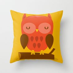 Super Cute Woodland Creatures Owl Throw Pillow by totallyjamie - $20.00