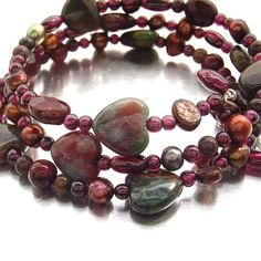 Jasper hearts with pearls, mookaite and garnet beads on memory wire