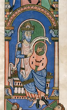 David playing a harp. German, 12th century. British Library.