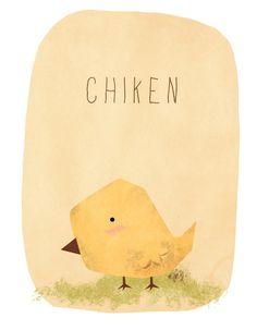 pollito chicken, galina hen, lápiz pencil y pluma pen.( Animals by Levi Strauss, via Behance)