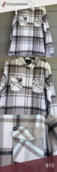 Rip Curl men's cotton flannel shirt Beautiful warm cotton flannel shirt.  Nice shades of brown, cream and light blue.  Quality shirt new condition. Size large Rip Curl Shirts Casual Button Down Shirts