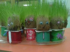 """Pretty much the most hilarious child activity ever    """"Grass Buddies""""  - 2-3 teaspoons of grass seed  - soil inside pantyhose """"sausage style""""  - tie it off, place inside empty yogurt containers with water, and decorate as you like!"""