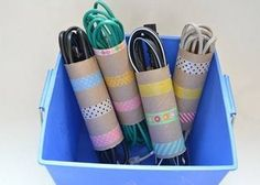 DIY washi tape and toilet paper rolls organizers (via ourthriftyideas) Washi Tape, Masking Tape, 15 Dollar Store, Dollar Stores, Cool Dorm Rooms, Paper Towel Rolls, Toilet Paper Roll Crafts, Cord Organization, Storage Hacks