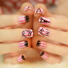 粉色条纹方头短款假指甲小可爱的最爱美甲贴片片装