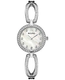 Bulova Women's Crystal Accent Stainless Steel Bangle Bracelet Watch 26mm 96L223