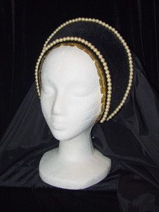Reproduction French Hood, a new fashion brought in during Tudor times which daringly showed a woman's hair.