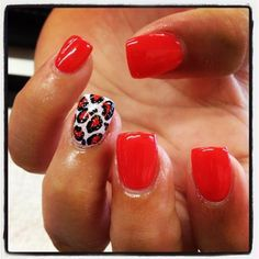 Red Nails With Leopard Prints