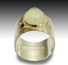 Wide ring, sterling silver ring, silver gold ring,  jade ring, gemstone ring, mixed metal ring, two toned ring, stone ring - Explore R1026P