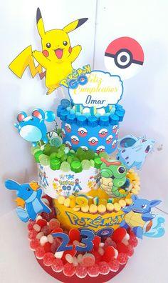 Omar y su tarta de cumpleaños. #pokemonGo #tartasdechuches Pokemon Birthday, 7th Birthday, Birthday Parties, Candy Birthday Cakes, Candy Cakes, Pokemon Candy, Candy Bouquet, Hampers, Candy Shop