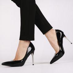 Dahlia Perspex Heels Stilettos in Black Patent