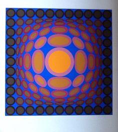 Winning bid: US $300.00 [ 3 bids ] VICTOR VASARELY - Large original serigraph for sale #Abstract