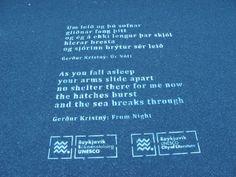 Götuljóð í Reykjavík / Reykjavik street poetry - Gerður Kristný: Úr Nótt / From Night