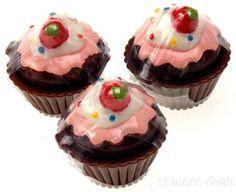 Lot 12 Cupcake Shaped Lip Balm Chocolate Vanilla Strawberry Mint Icing Sprinkles #DessertLipGloss