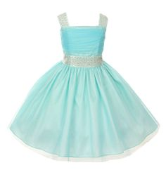 Fabulous speciall occasion tulle dress with sparkling rhinestones on shoulder straps and at waist in a gorgeous aqua color (girls sz. 2-14) ~ flower girls, wedding, Easter, graduation ~ Color Me Happy Boutique