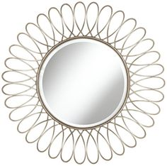 Openwork Silver Petal 37 1/2-Inch Round Wall Mirror - Euro Style Lighting
