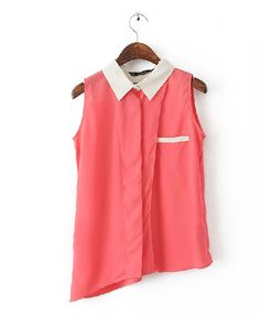 Red Asymmetric Chiffon Blouse with Contrast Collar from chicnova