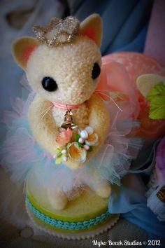 Miss Kitty the Ballerina Kitten Woolen Pompom by MykoBocekStudios, $65.00