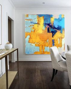 Large Original Abstract Painting On Canvas, Abstract Textured for wall art art handmade Acrylic from Studio Trend Gallery Simple Oil Painting, Blue Abstract Painting, Yellow Painting, Abstract Canvas, Large Painting, Industrial Wall Art, Wall Decor Pictures, Modern Wall Art, Contemporary Art