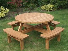 Farmhouse table plans & ideas find and save about dining room tables . See more ideas about Farmhouse kitchen plans, farmhouse table and DIY dining table Wooden Garden Chairs, Wooden Garden Furniture, Garden Table And Chairs, Patio Table, Furniture Ideas, Furniture Design, Round Picnic Table, Build A Picnic Table, Wooden Picnic Tables