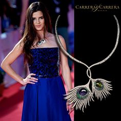 Clara Lago caused a sensation with her outfit in the last edition of the Malaga Film Festival. For the occasion, she chose the fabulous Rio necklace from the Peacock collection. The precious stones - green tourmaline and iolite - of this fine jewelry piece, perfectly matched  her bright blue dress.