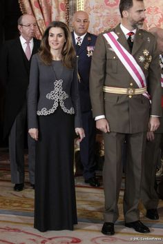 Letizia Ortiz en el desfile militar de año nuevo en el Palacio Real, el 6 de enero de 2013