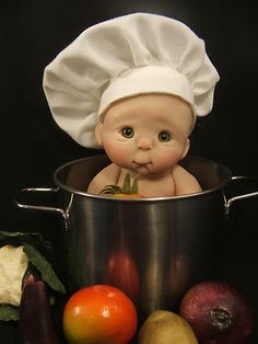 BABY IN COOKING POT BY RASBUBBYHILL ....good gift for brandi