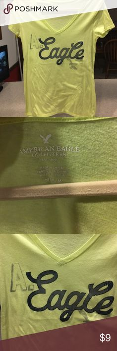 Green American Eagle v neck tee This awesome shirt is pretty cool, be cool and buy it now!!!! American Eagle Outfitters Tops Tees - Short Sleeve