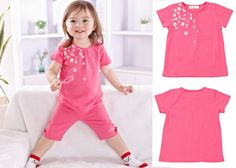 Newborn Infant Baby Girls Short Sleeve Tops T-shirt Rose Red Flower Cotton 6-12M #ibaby #Everyday