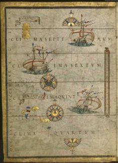Páginas 8 y 9 del Atlas Miller. El mapa muestra una parte del Atlántico Norte, incluyendo el archipiélago de las Azores. La mitad oriental del mapa nunca ha sido hallada pero seguramente mostraría la Península Ibérica