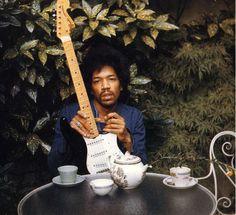 Jimi Hendrix  Pictured: gold dust plant (Aucuba), Japanese maple (Acer palmatum) #plants #music #tea