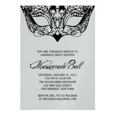 Shiny Silver Masquerade Invitations