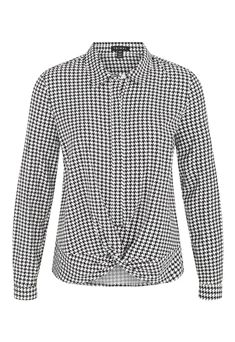 Houndstooth Blouse – Ginger Howard Selections Collar Shirts, Collars, Professional Look, Houndstooth, The Selection, Long Sleeve Shirts, Spandex, Shirt Dress, Black And White
