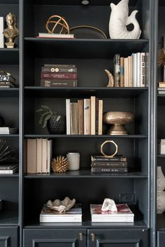 bookshelves styling inspiration - black bookshelves